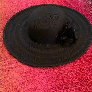 NWT Black wide brimmed hat with flower